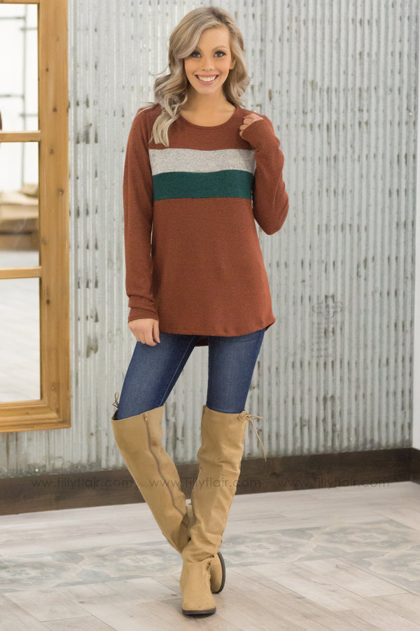 Let You Know Long Sleeve Striped Chest Top in Rust - Filly Flair