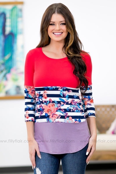 Filly Flair: Dreaming of You Floral Color Block Top in Coral Lilac - Filly Flair