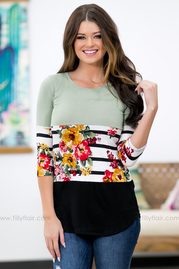 Filly Flair: Dreaming of You Floral Color Block Top in Sage - Filly Flair