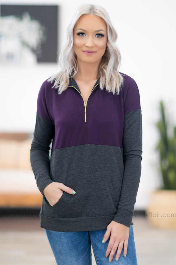 Friend of Mine Color Block Half Zip Pullover In Purple Charcoal - Filly Flair