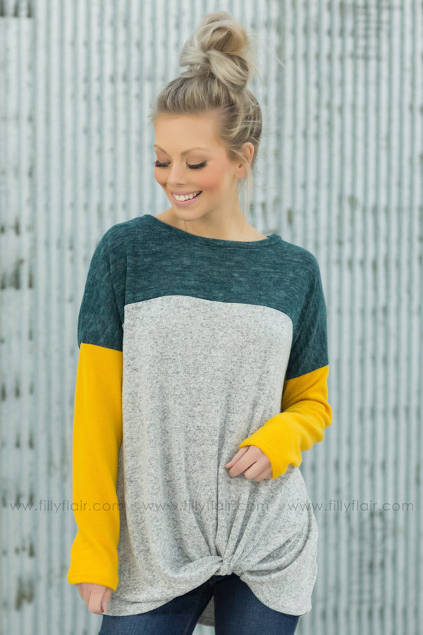 Every Dream Color Block Knotted Top In Hunter Green Yellow Grey - Filly Flair
