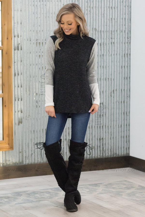 *Take It From Me Color Block Mock Neck Top In Charcoal Grey* - Filly Flair