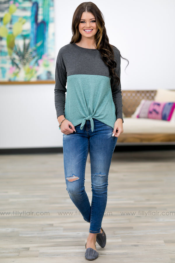 What To Feel Long Sleeve Color Block Tie Knot Top in Charcoal Mint - Filly Flair