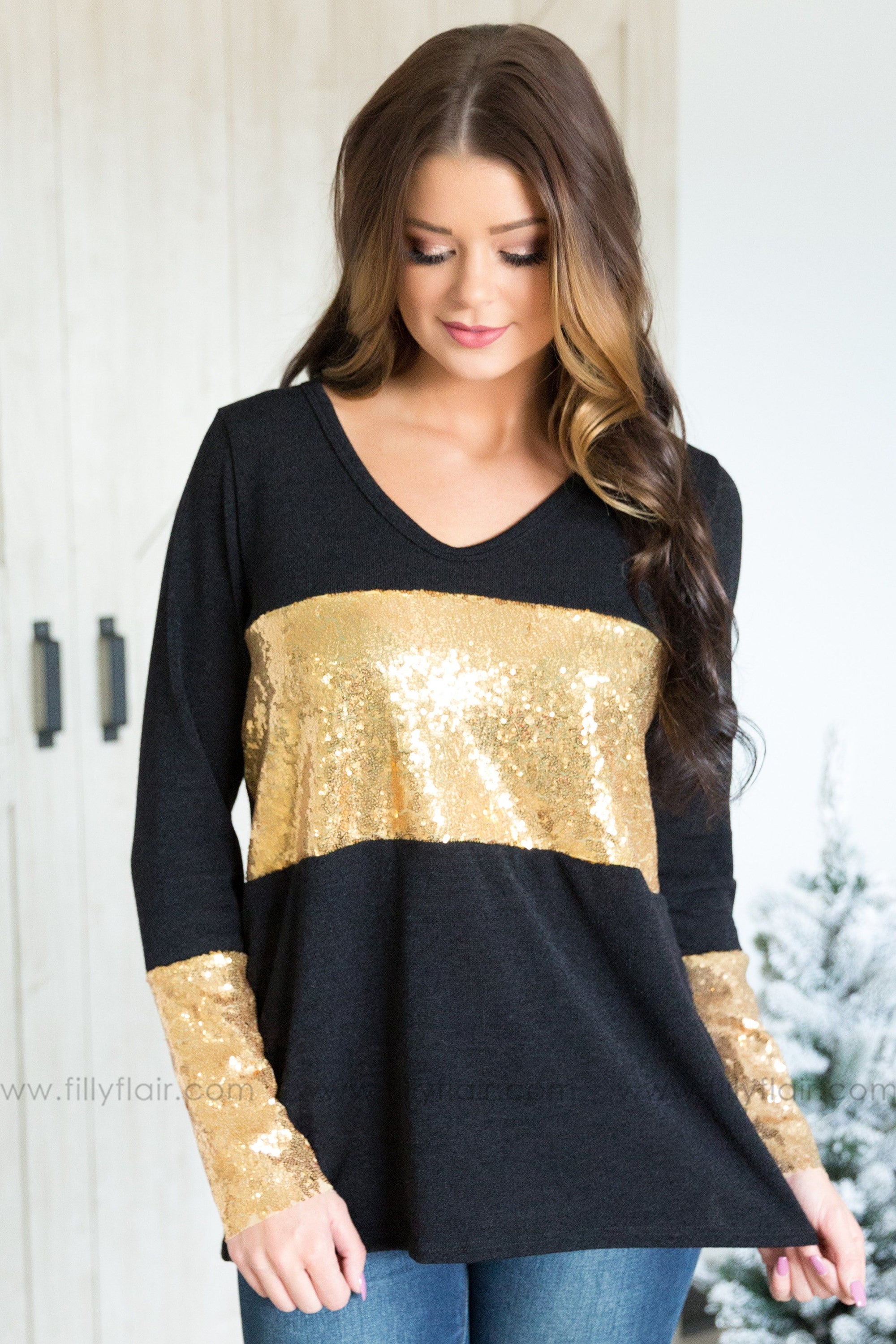 aa169059 Keep on Loving You Long Sleeve Gold Sequin Detail Top In Black ...