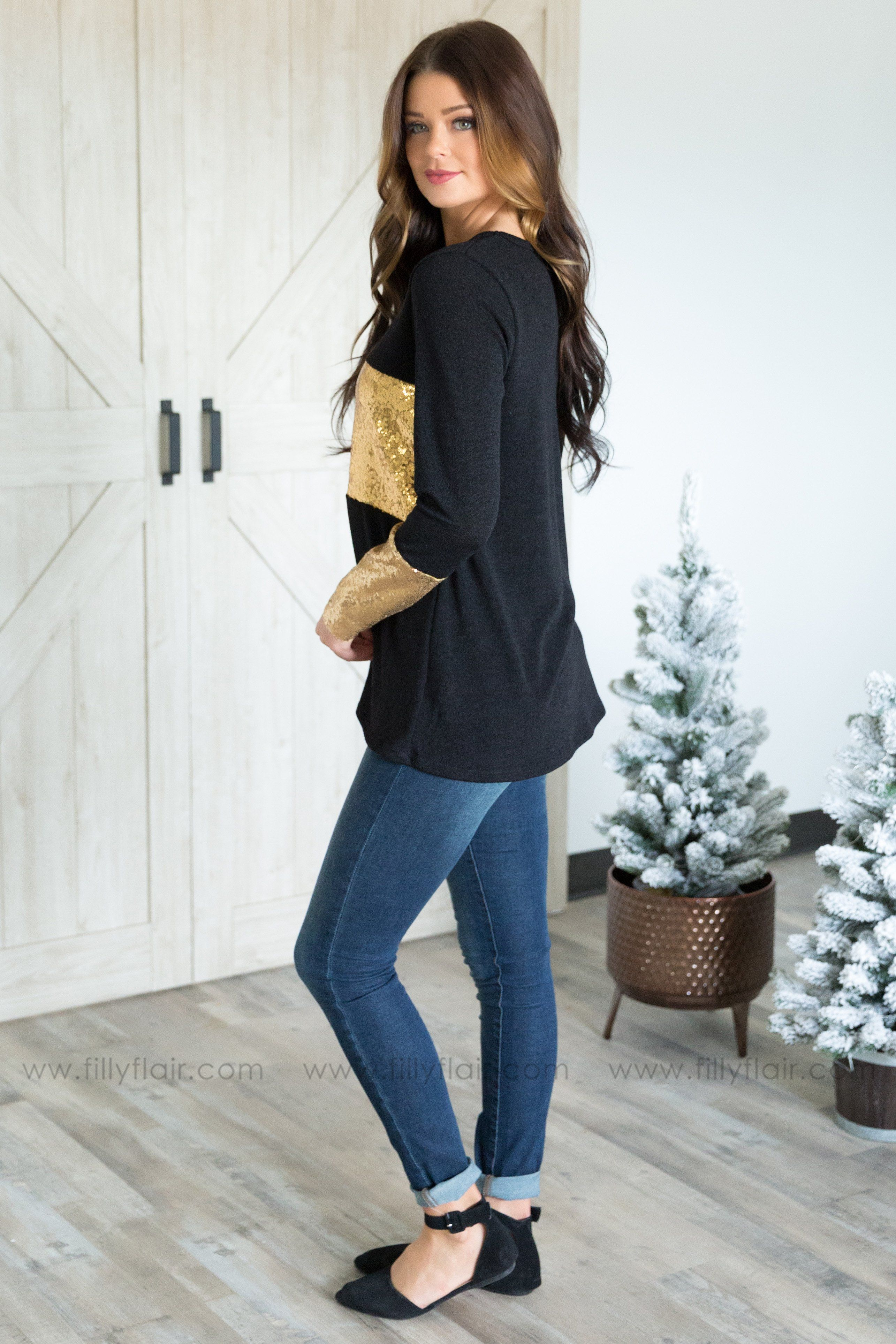 Keep on Loving You Long Sleeve Gold Sequin Detail Top In Black - Filly Flair