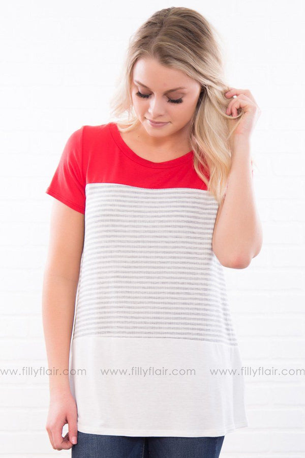 Get To Living Striped Color Block Tee In Red