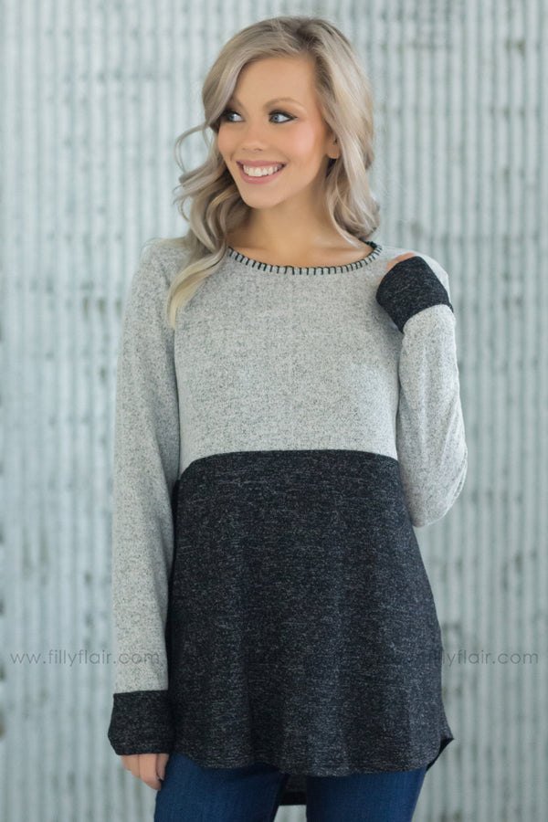 Dress It Up Color Block Stitched Hem Top In Charcoal Grey - Filly Flair
