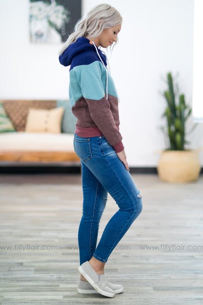 Some Things Never Change Color Block Hoodie in Navy - Filly Flair