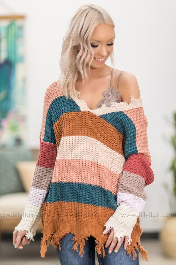 Every Girl's Dream Striped V-Neck Sweater in Beige Teal Rust - Filly Flair