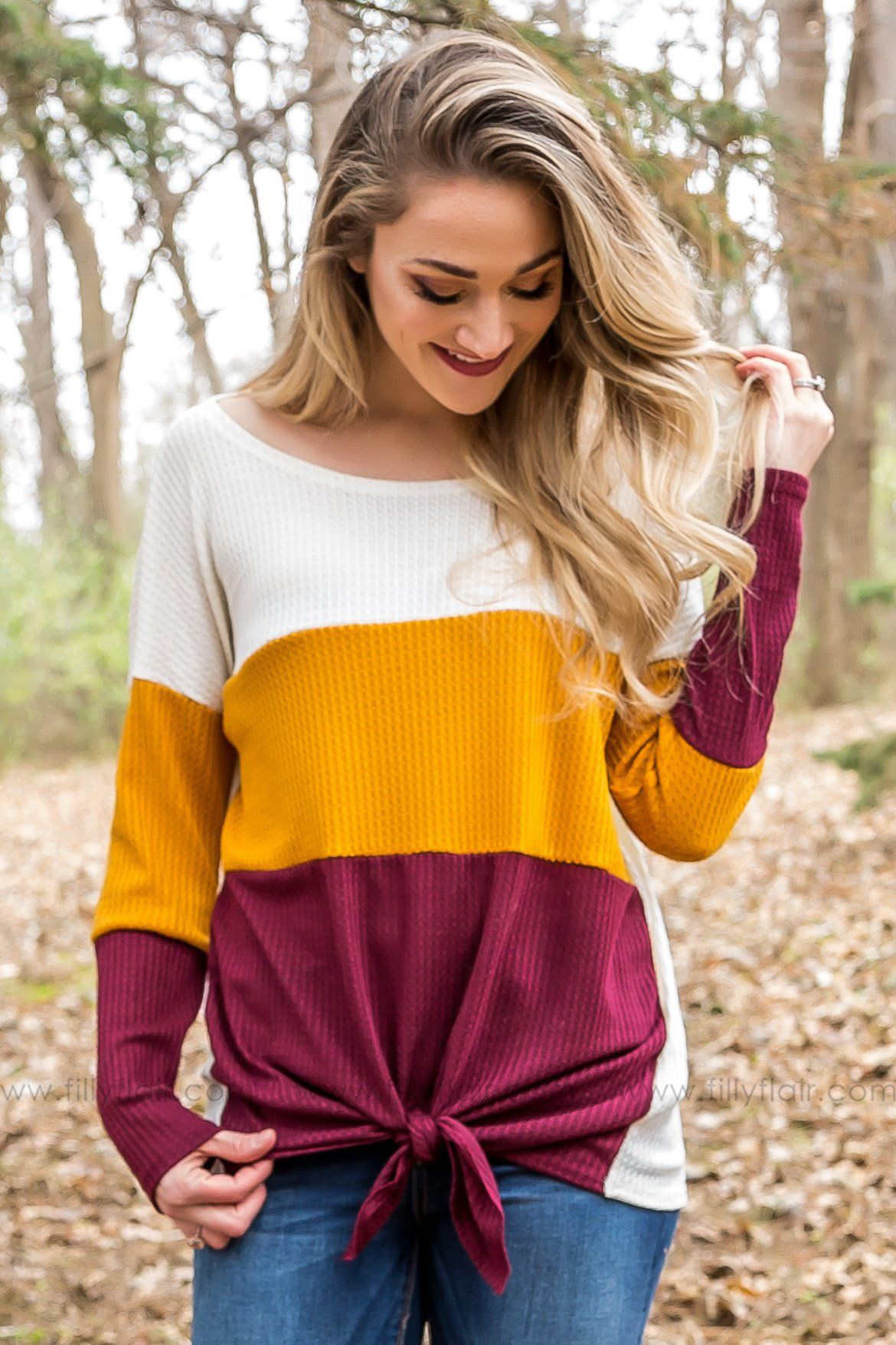 Everyday Moments Waffle Color Block Tie Top In Burgundy - Filly Flair