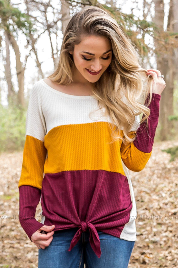 *Everyday Moments Waffle Color Block Tie Top In Burgundy* - Filly Flair