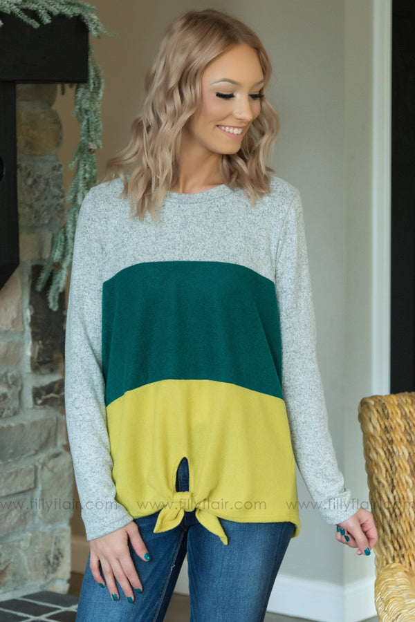For the Love of Colorblock Tie Top In Green Yellow - Filly Flair
