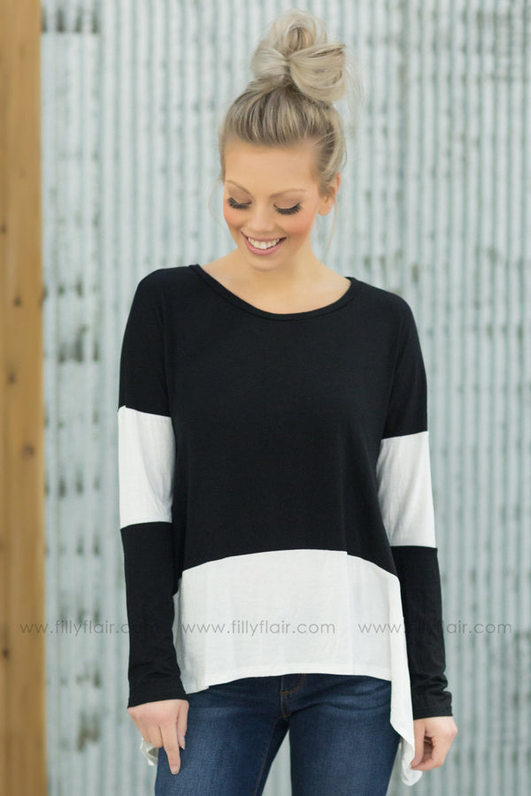 I'll Come To You Long Sleeve Color Block Top in Black White - Filly Flair