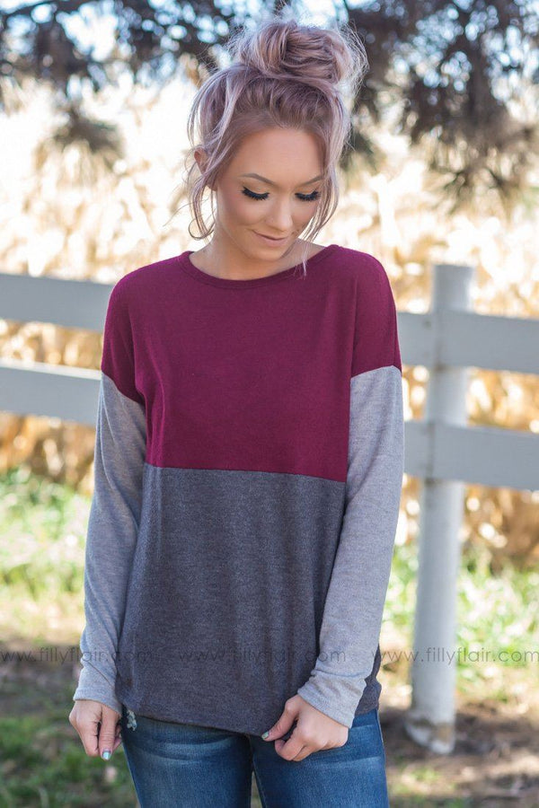 New Beginnings Color Block Top in Burgundy - Filly Flair