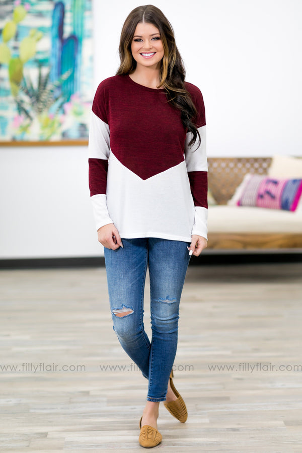 Take The Challenge Long Sleeve Top In Burgundy - Filly Flair