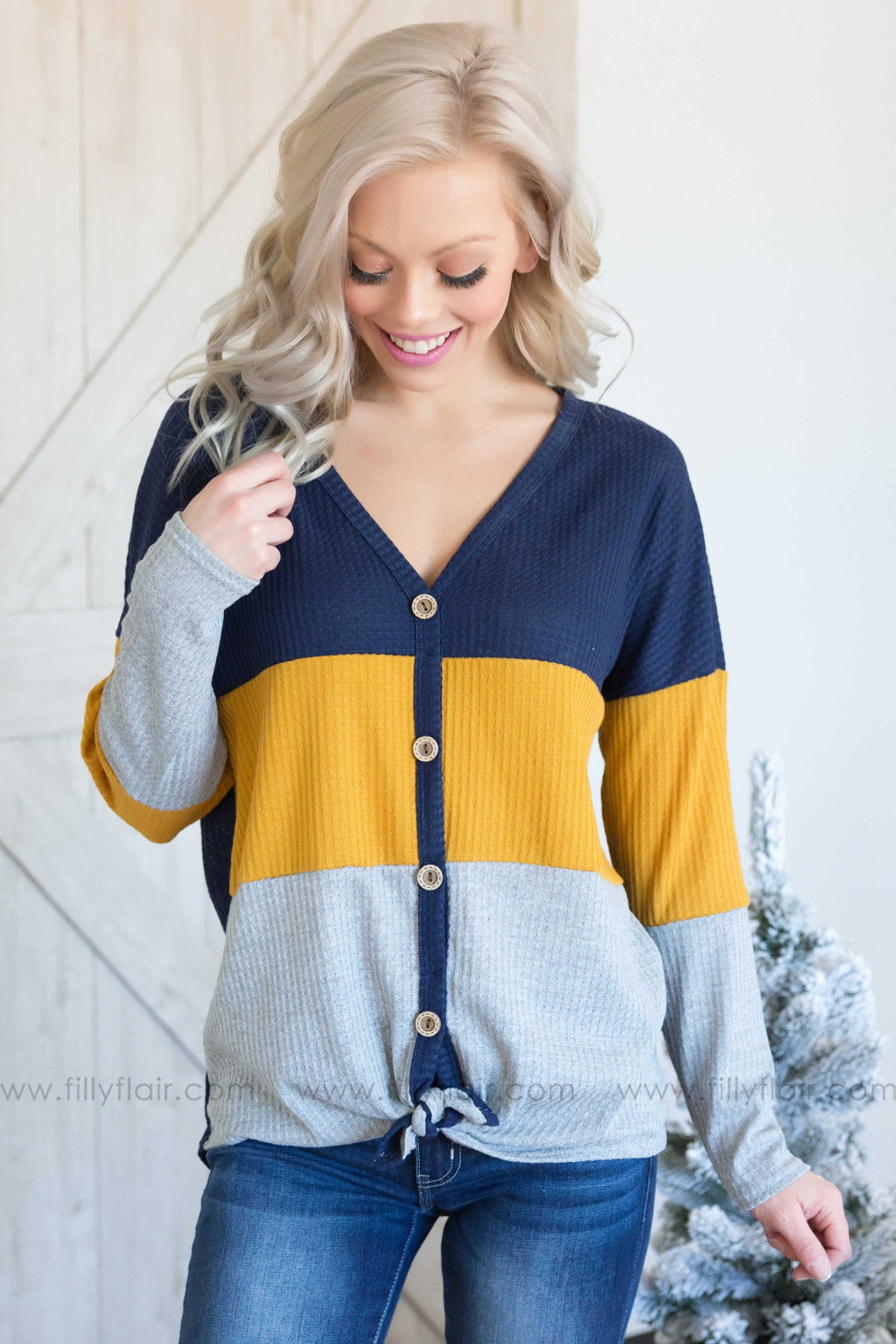 Easy Going Long Sleeve Color Block Waffle Tie Top in Navy Mustard - Filly Flair