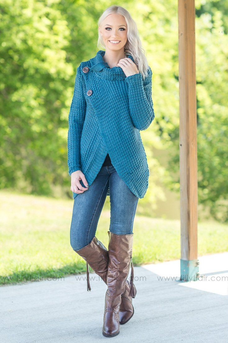Something In You Cowl Neck Button Sweater in Teal - Filly Flair