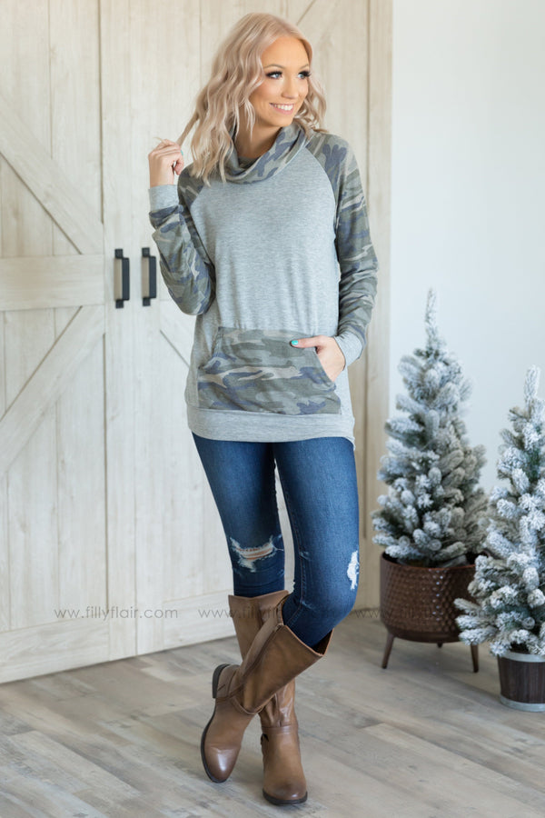 Camo Love Long Sleeve Cowl Neck Top In Grey - Filly Flair