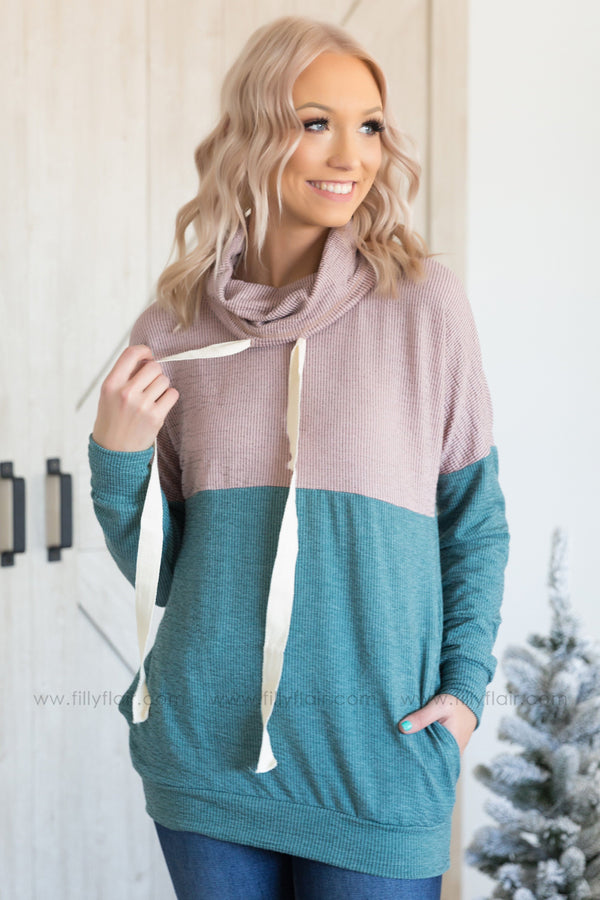 Easy Does It Color Block Cowl Neck Top In Mauve Teal - Filly Flair