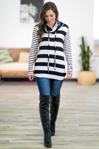My Whole World Striped Long Sleeve Cowl Neck Top in White Black - Filly Flair