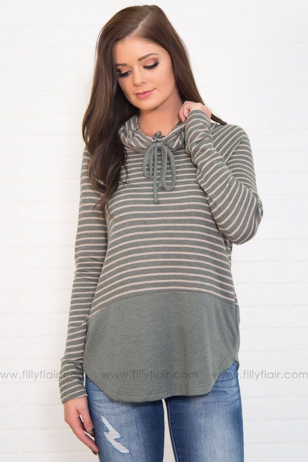 Here All Day Striped Cowl Neck Top In Olive