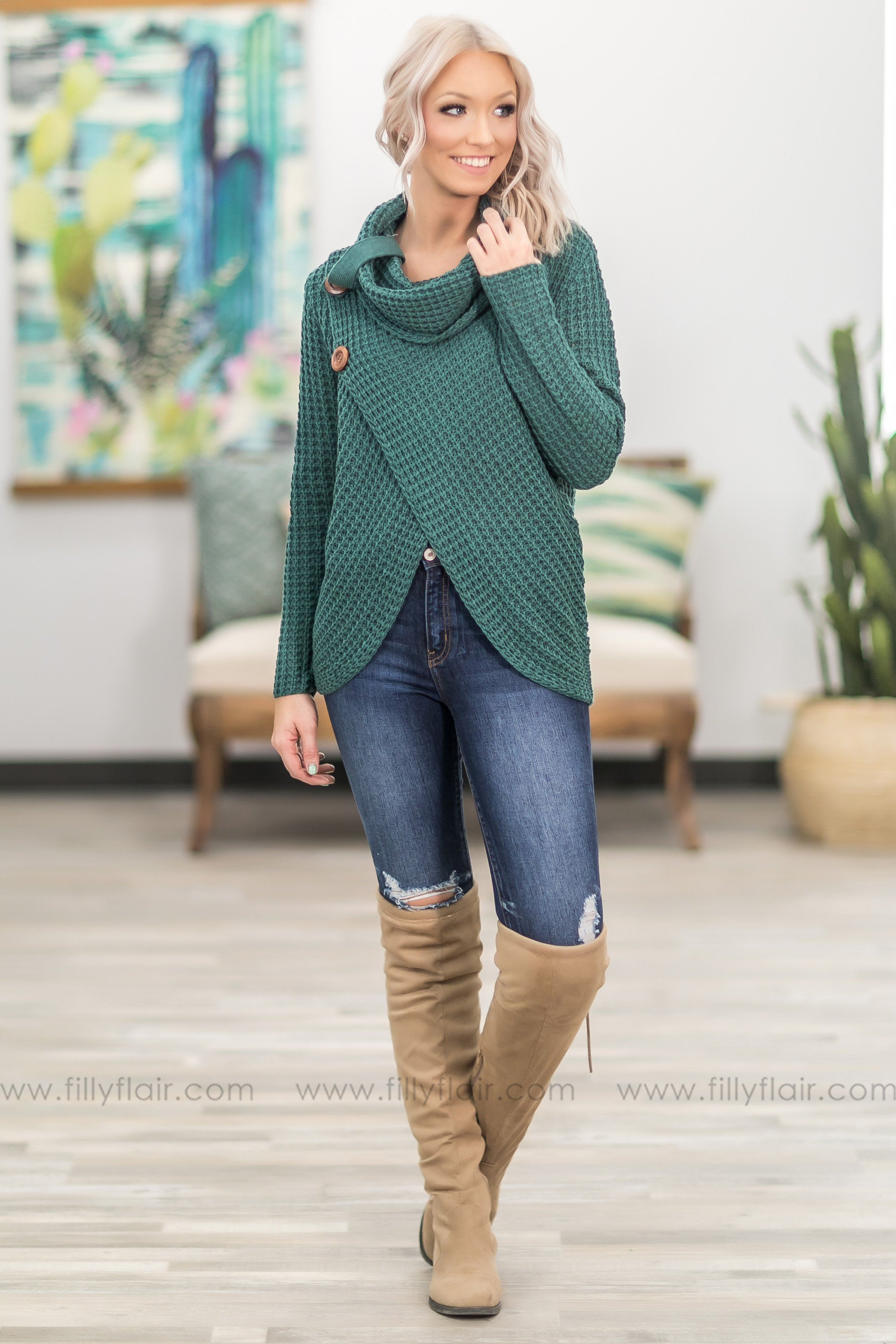 All the Way to You Cowl Neck Button Sweater in Teal - Filly Flair