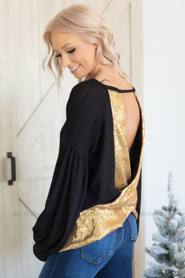 Turn Around Long Sleeve Gold Sequin Open Back Top In Black - Filly Flair