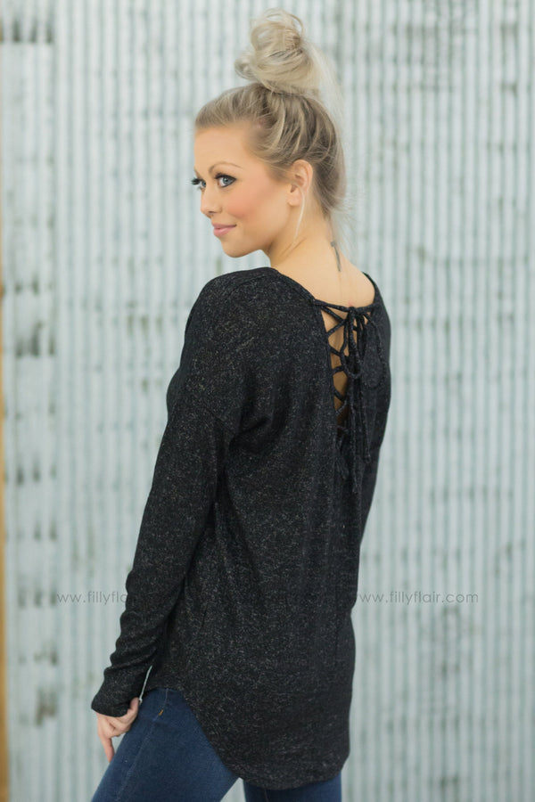 *Crossing Over Long Sleeve Lace Up Back V-Neck Top in Heathered Black - Filly Flair