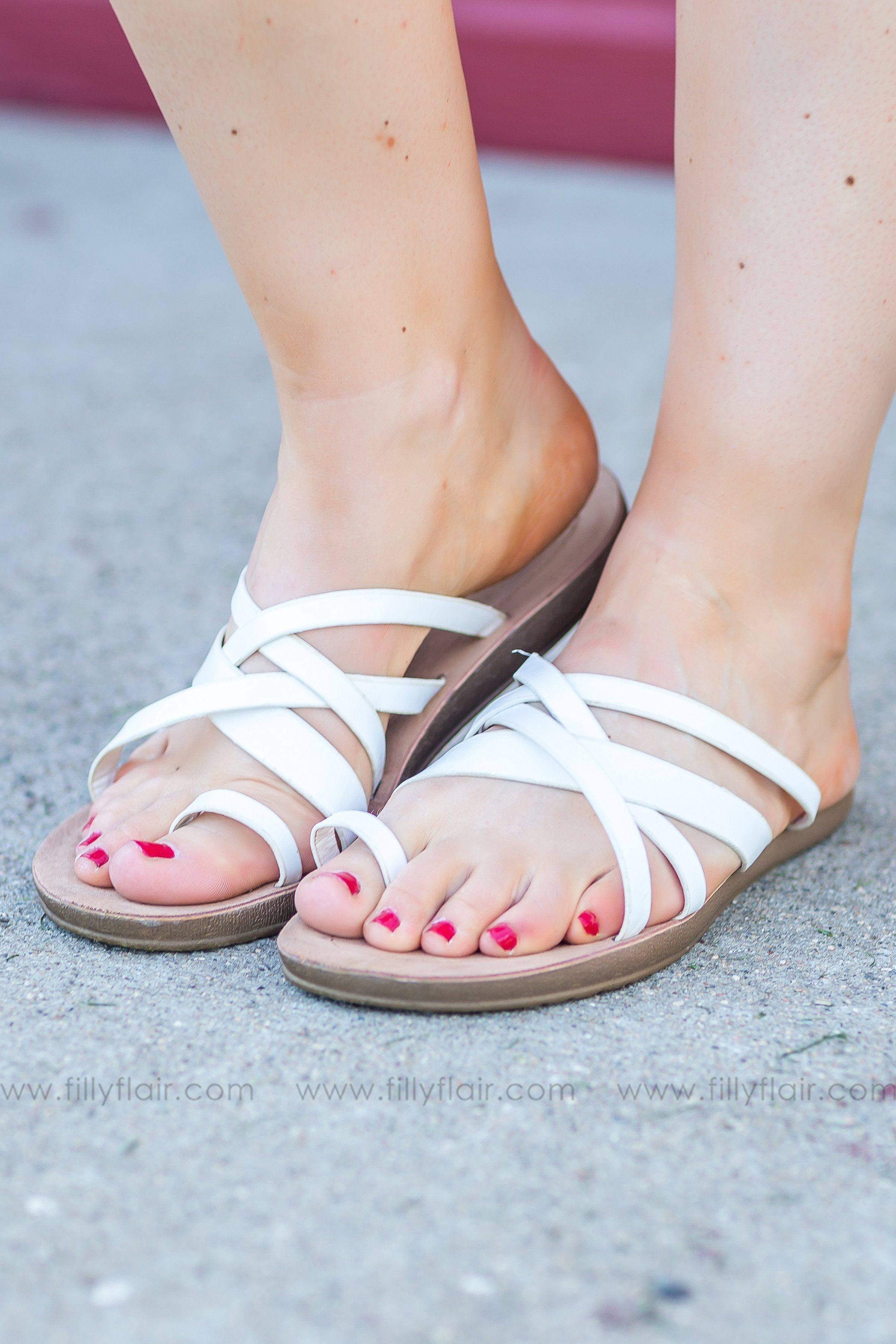 Sand Between Your Toes Strappy Flat Sandals In White - Filly Flair