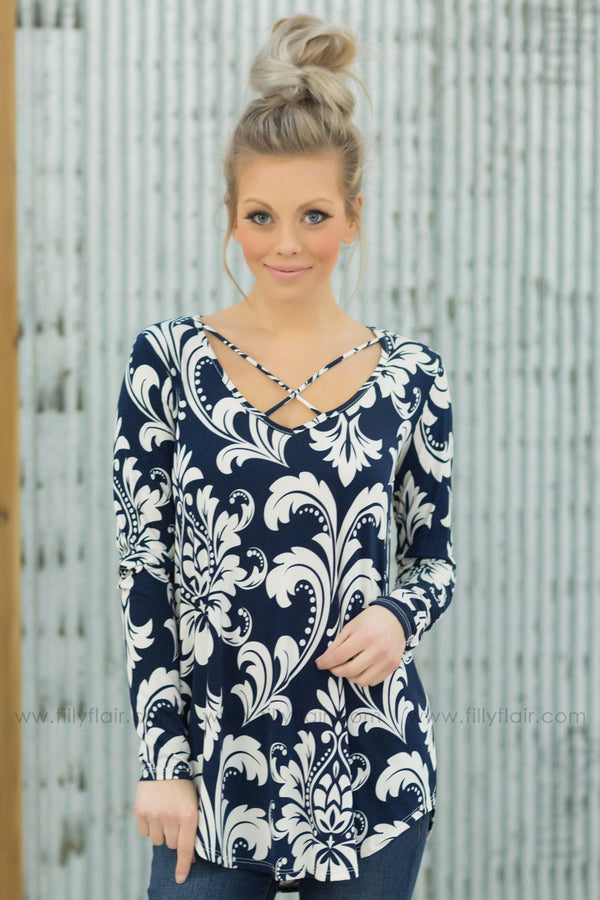 All Together Criss Cross Long Sleeve Printed Top in Navy - Filly Flair