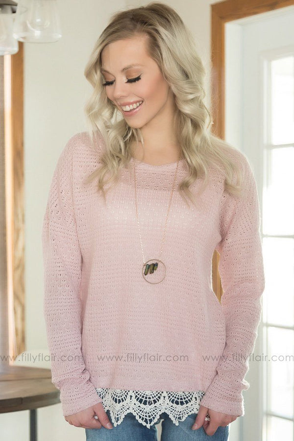 A Safe Place Crochet Lace Top In Dusty Pink