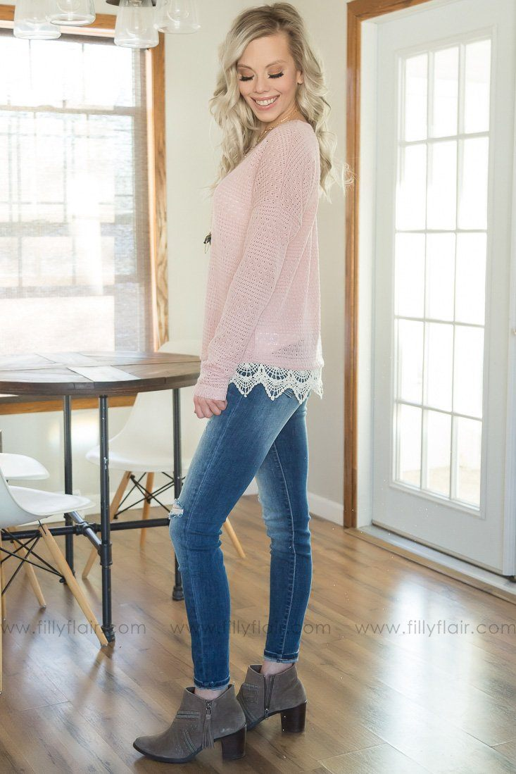A Safe Place Crochet Lace Top In Dusty Pink - Daily Deal - Filly Flair