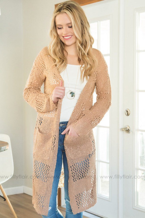 Live For Love Long Pocket Cardigan In Sand