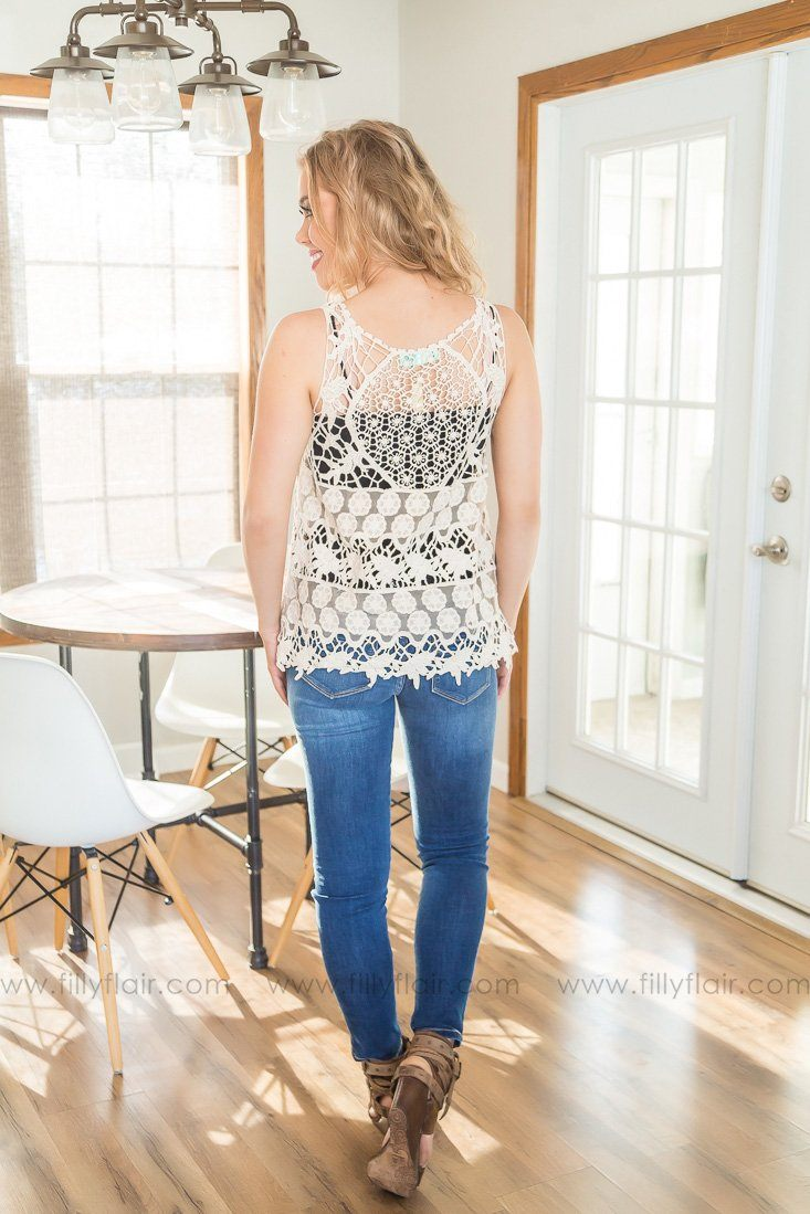 Live A Little Crochet Lace Tank In Ivory - Filly Flair