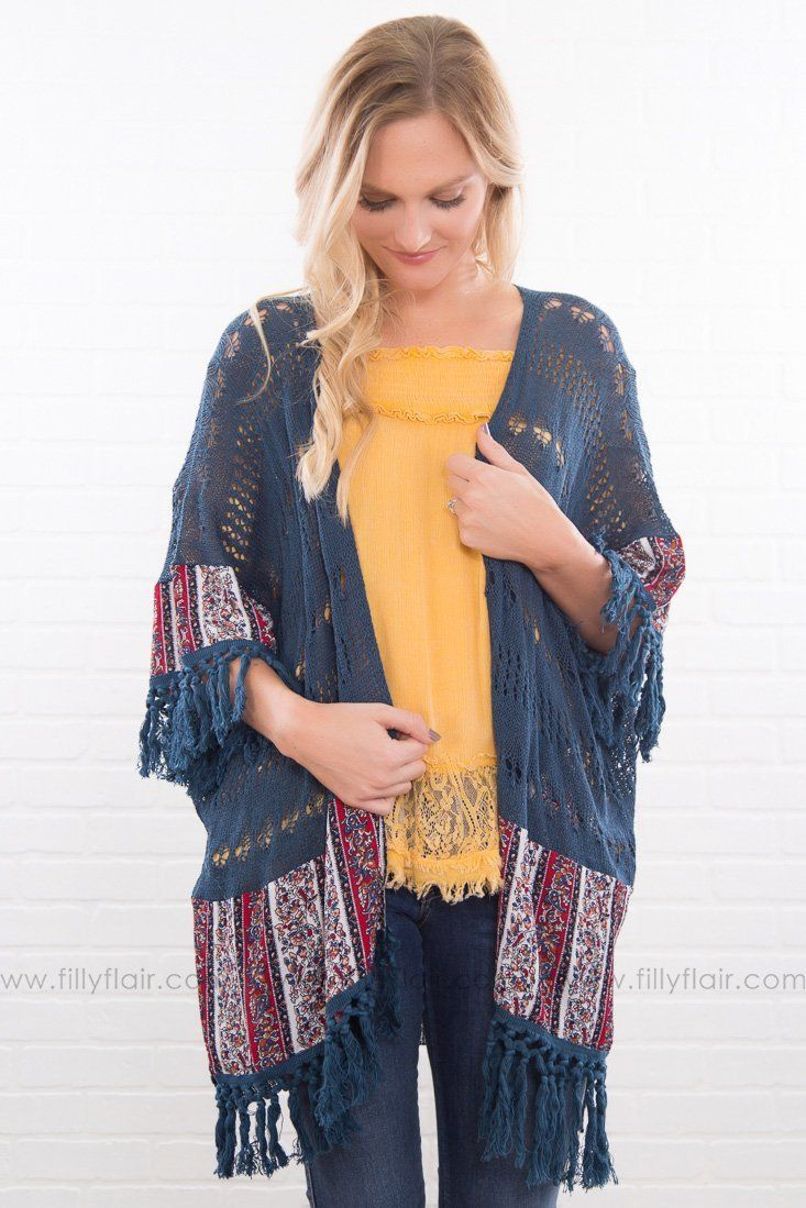 Down The Road Fringe Hem Cardigan In Navy - Filly Flair