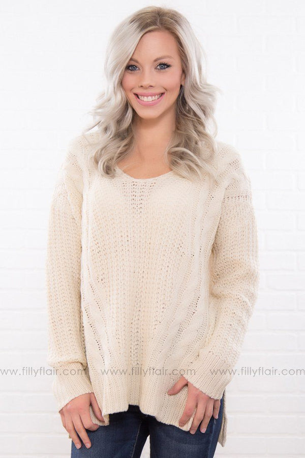 Don't Cross Me Criss-Cross Back Sweater In Ivory