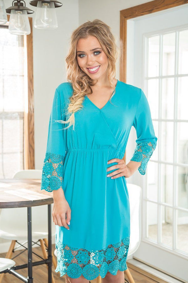Rainy Day Scallop Lace Dress In Teal