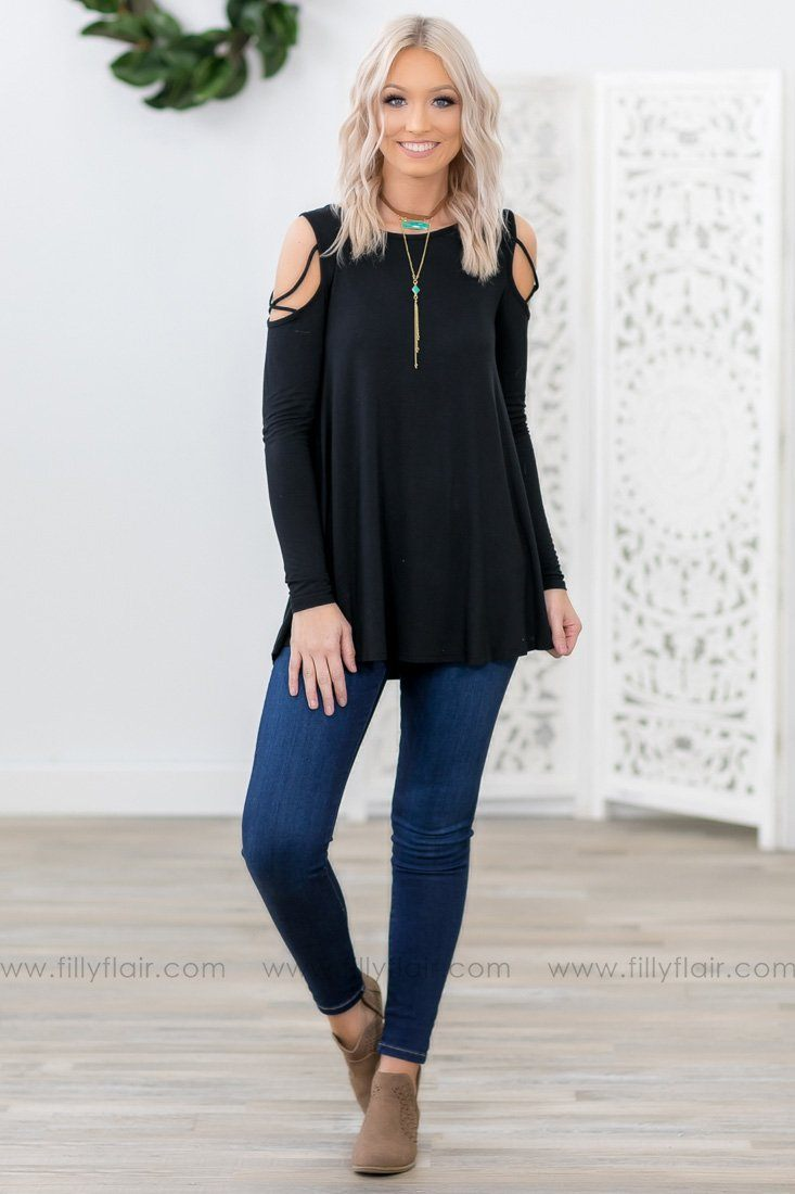 Cross My Heart Criss Cross Cold Shoulder Top in Black - Filly Flair