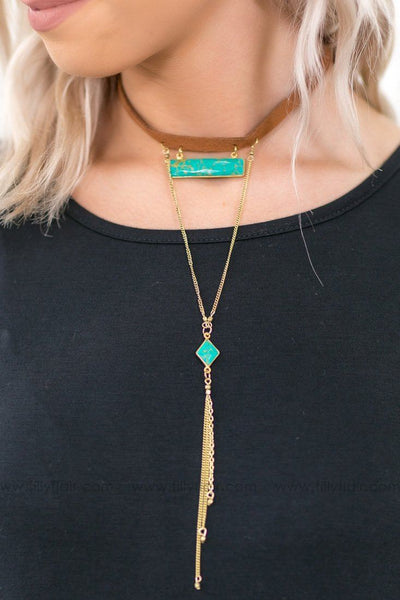 Walk Into The Room Turquoise Stone Leather Choker Necklace - Filly Flair