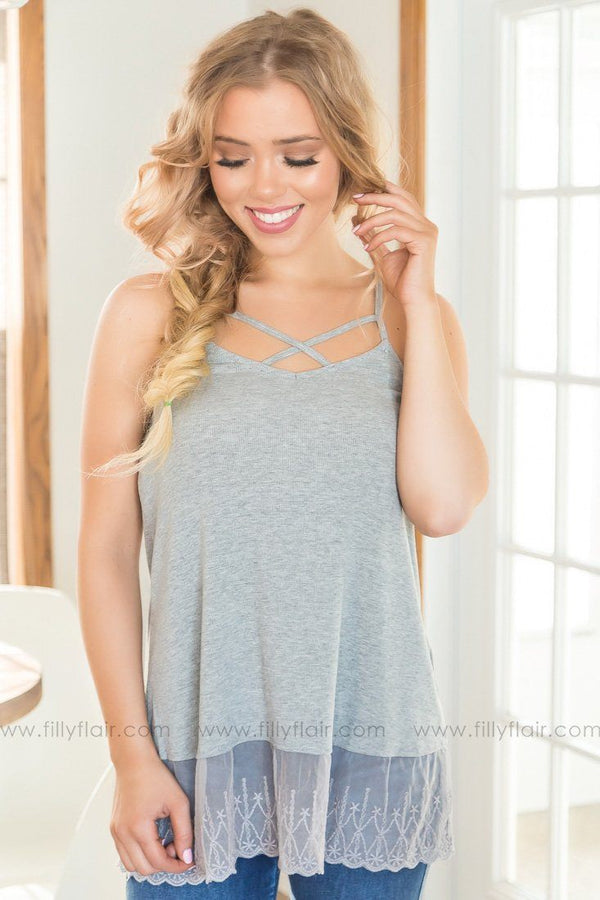 Told You So Criss Cross Lace Tank In Grey