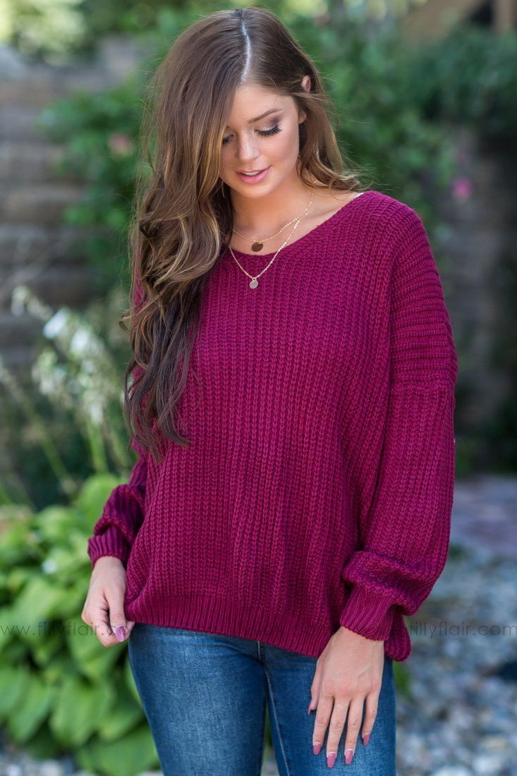 You Belong Lace Up Back Sweater In Burgundy - Filly Flair