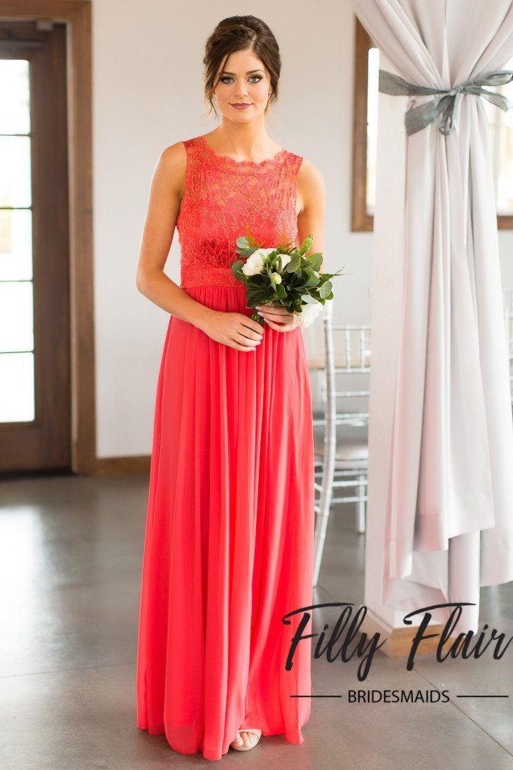 Ivy bridesmaid dress in coral filly flair ivy bridesmaid dress in coral ombrellifo Image collections
