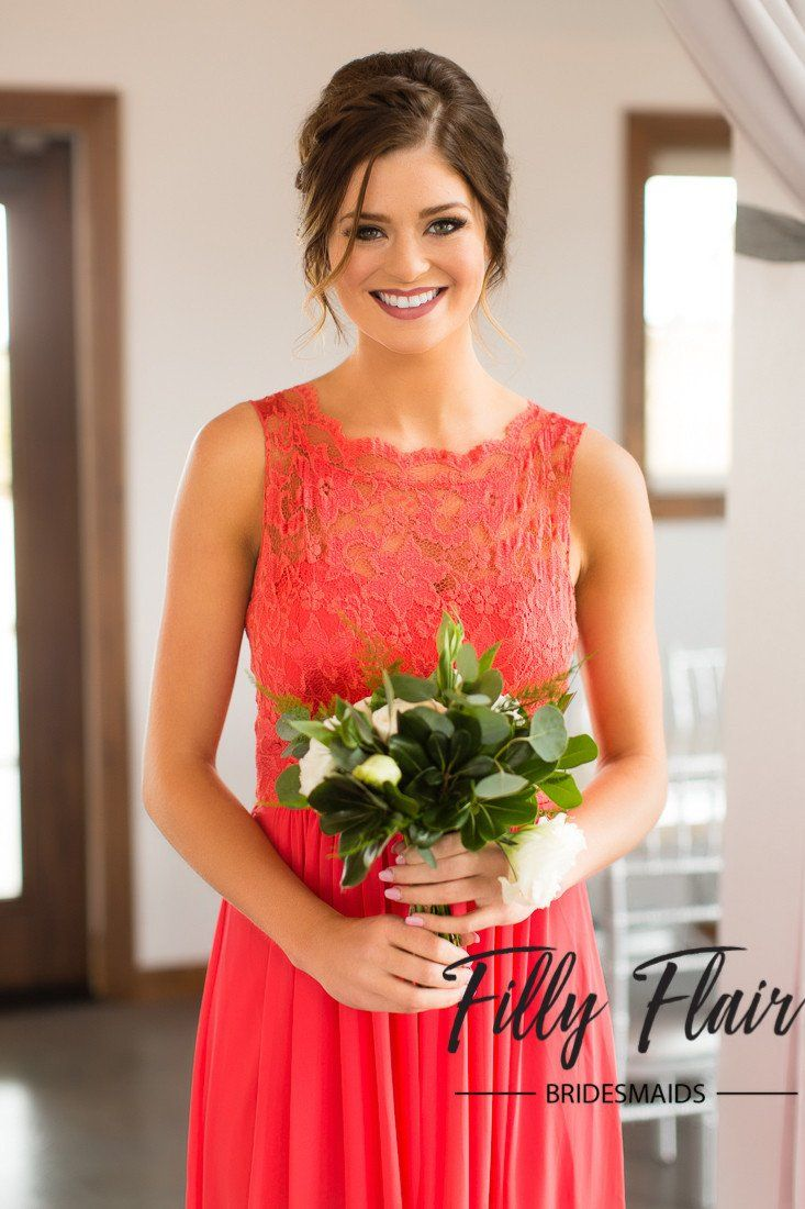 Ivy bridesmaid dress in coral filly flair lace bridesmaid dress ombrellifo Images