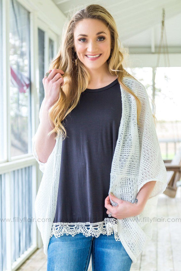 Tell Me Something New Oversized Dolman Cardigan In White