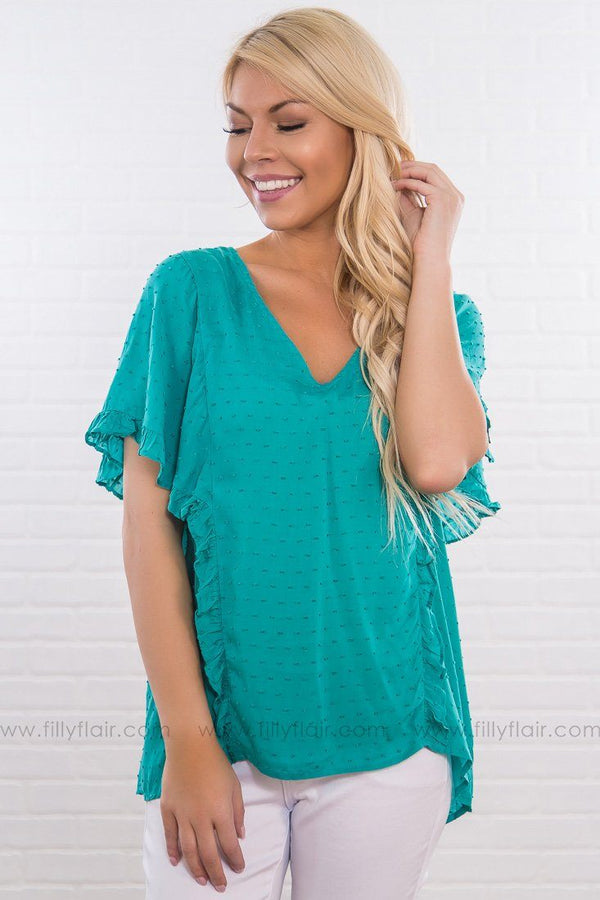 Take A Turn Short Sleeve Ruffle Dot Top In Spring Teal