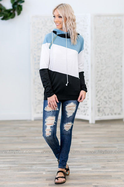 You And Me Long Sleeve Color Block Double Hoodie in Black White Blue - Filly Flair