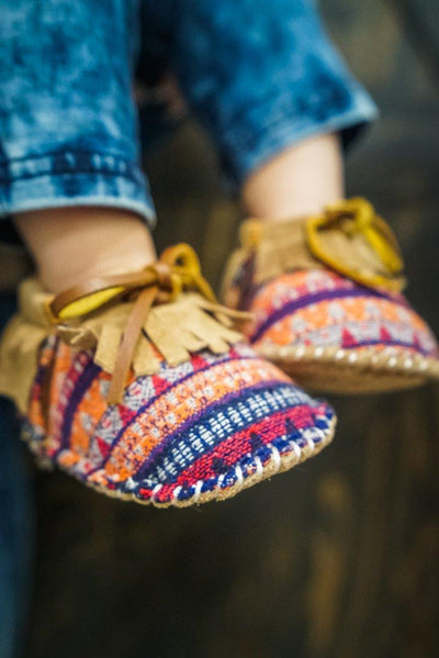 BABY/TODDLER: Moccasins in Multi-Colored Striped Print and Chestnut Fringe* - Filly Flair