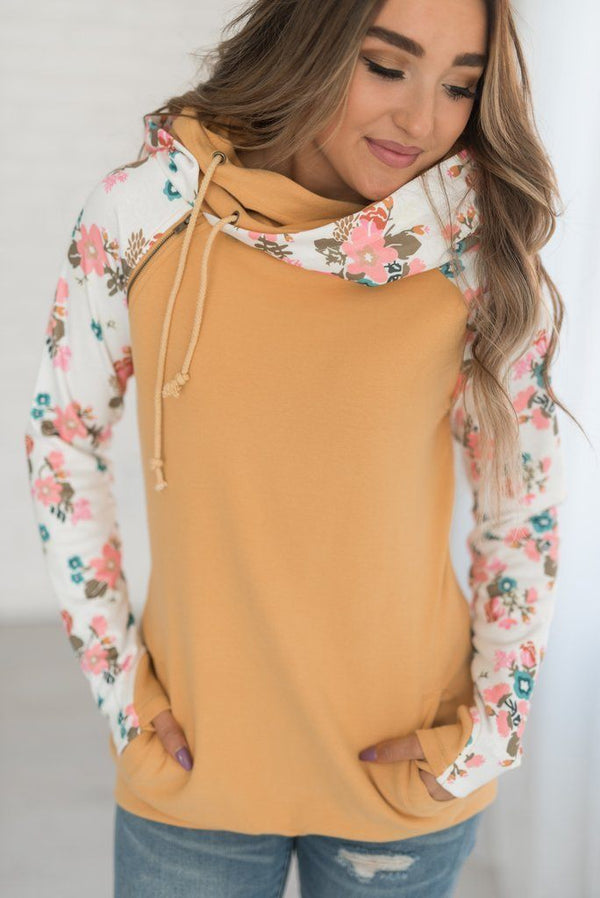 Find Floral AmpersandAve Double Hooded Sweatshirt in Mustard