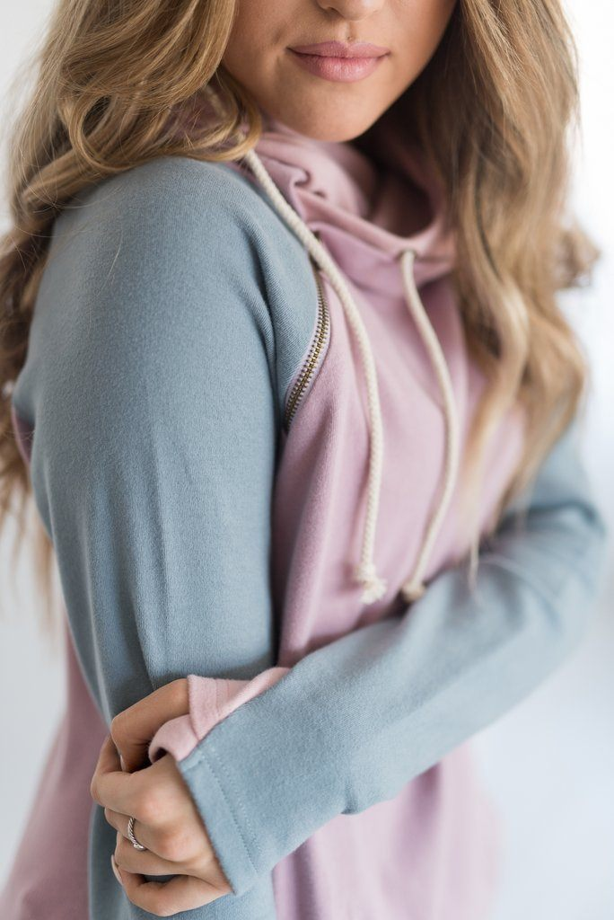 Dusty Pastels Amersand Ave Double Hooded Sweatshirt - Filly Flair