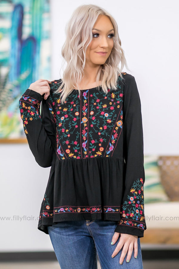 Comes Back To You Floral Embroidered Ruffle Top in Black - Filly Flair